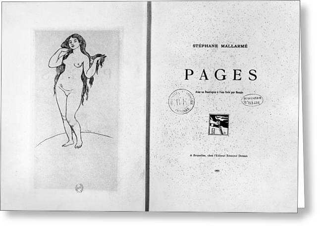 Mallarm� Pages, 1891 Greeting Card by Granger