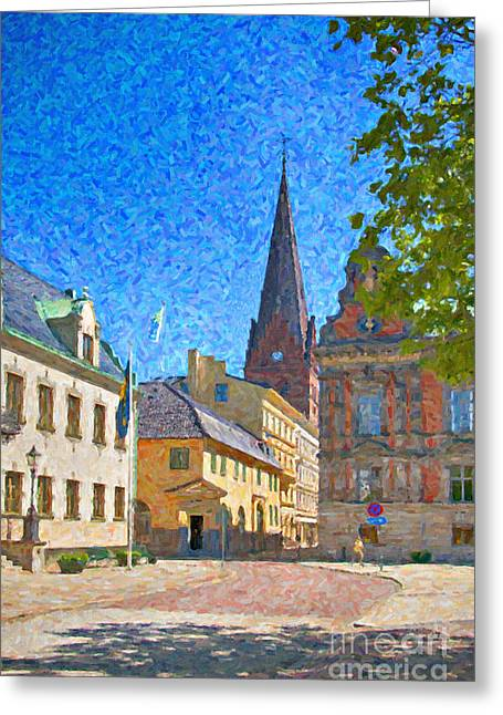 Malmo Stortorget Painting Greeting Card by Antony McAulay
