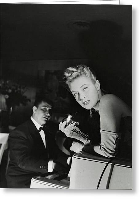 Malu Gatica With A Microphone Greeting Card by Horst P. Horst