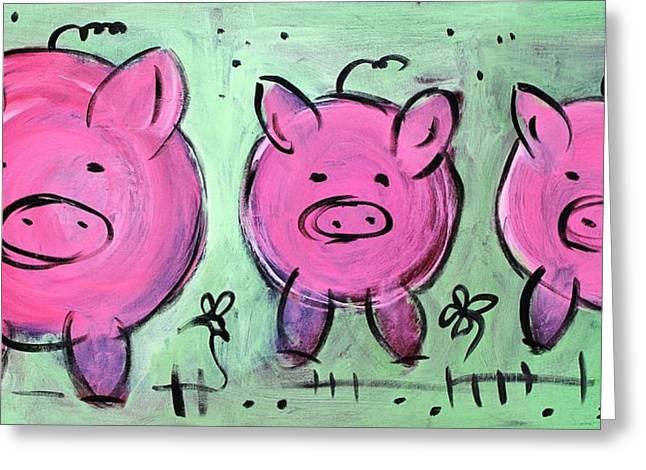 Mama Pig Greeting Card by Sladjana Lazarevic