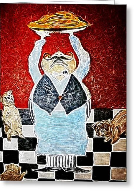 Mamas Pizza Man Greeting Card by Lisa Stanley