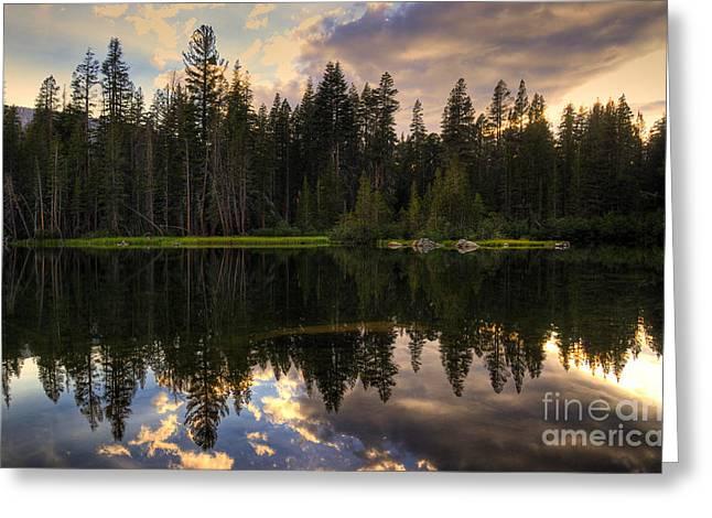 Mamie Lake Reflections Greeting Card by Kelly Wade
