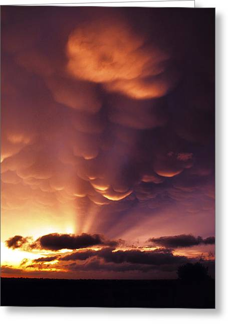 Mammatus Sunset Over Colorado Greeting Card