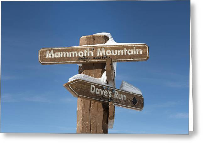 Mammoth Mountain Sign In Mono County Greeting Card