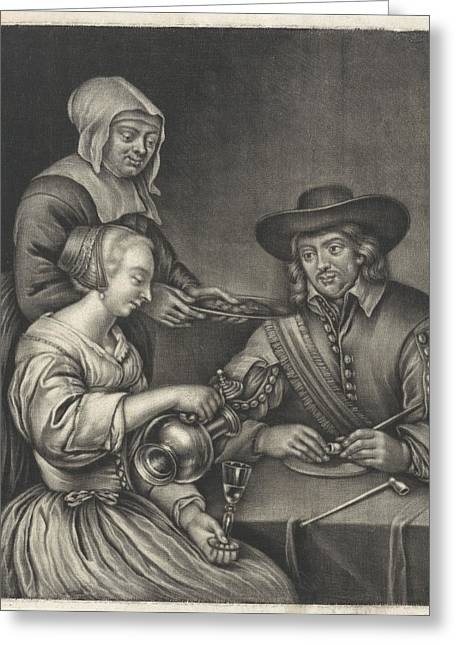 Man And A Woman At The Table, Anonymous, Jan Van Somer Greeting Card by Anonymous And Jan Van Somer