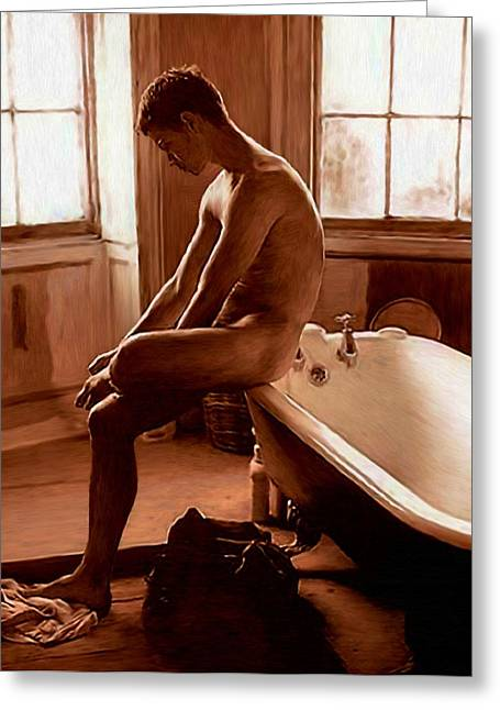 Man And Bath Greeting Card by Troy Caperton
