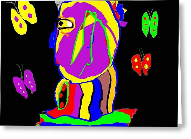 Man And Butterflies  Greeting Card
