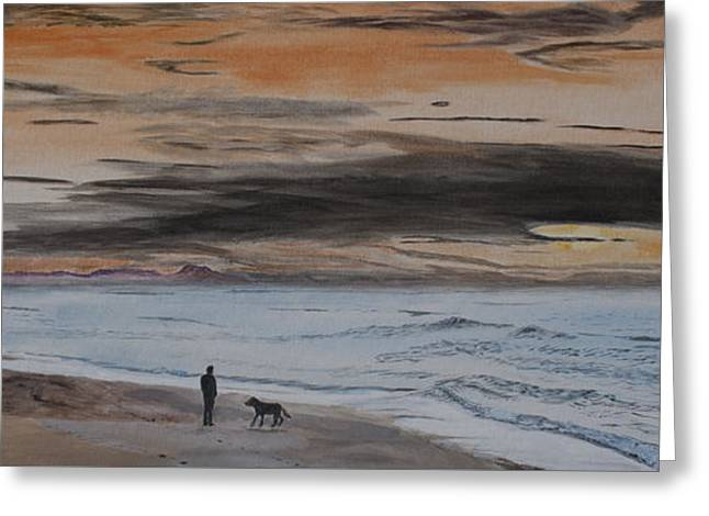 Man And Dog On The Beach Greeting Card