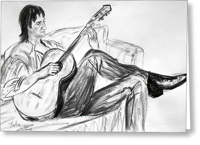Man And Guitar Greeting Card