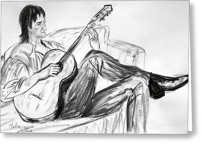 Man And Guitar Greeting Card by Asha Carolyn Young