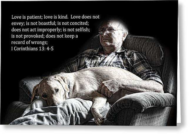 Man And His Dog At Rest 1cor.13v4-5 Greeting Card by Linda Phelps