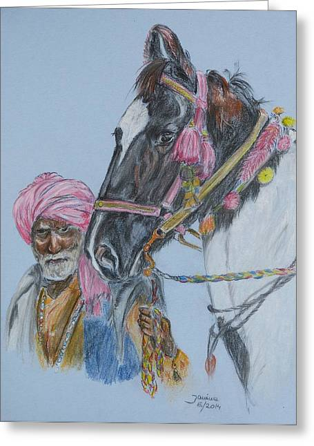 Greeting Card featuring the pastel Man And His Horse by Janina  Suuronen