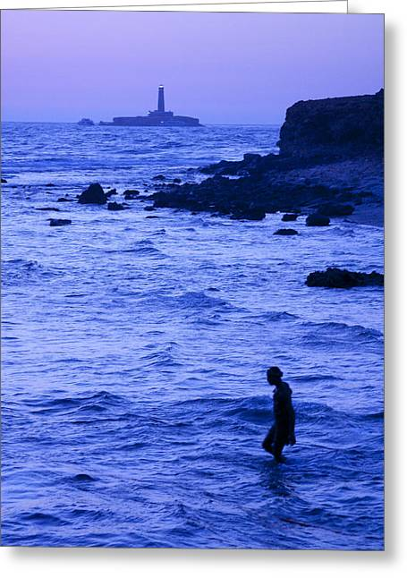 Man And Lighthouse Greeting Card