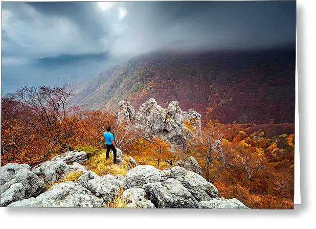Man And The Mountain Greeting Card by Evgeni Dinev