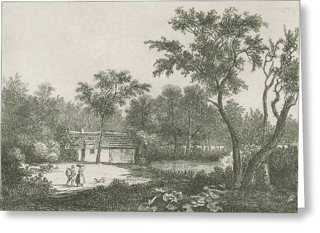 Man And Woman At A House On The Water, Print Maker Hermanus Greeting Card