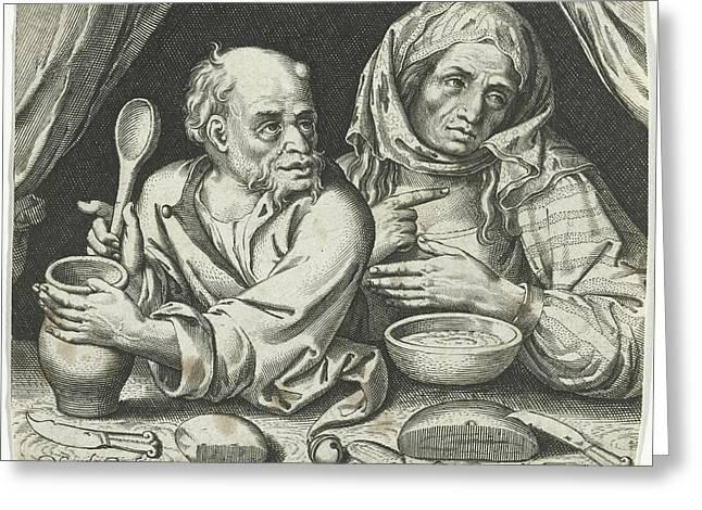 Man And Woman Eating Porridge, Nicolaes De Bruyn Greeting Card by Nicolaes De Bruyn And Assuerus Van Londerseel
