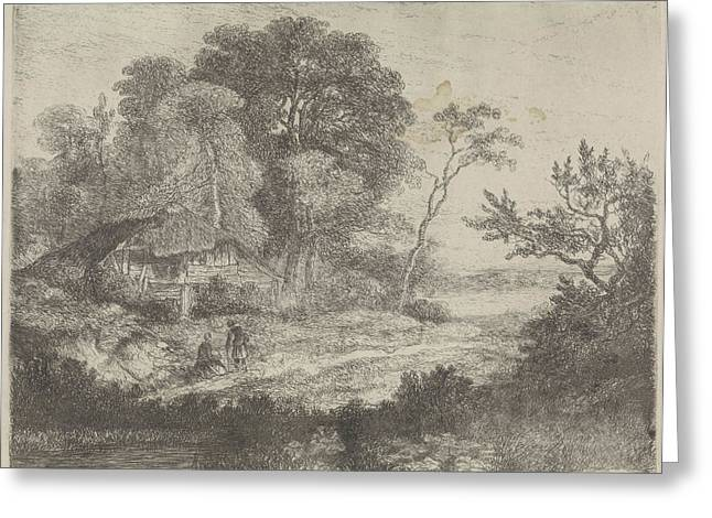 Man And Woman In A Wooden House, Hermanus Jan Hendrik Van Greeting Card