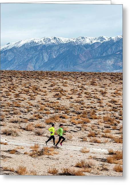 Man And Woman  Trail Running Greeting Card