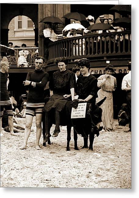 Man And Women Posed On Donkey For Photo At Crowded Beach Greeting Card by Litz Collection