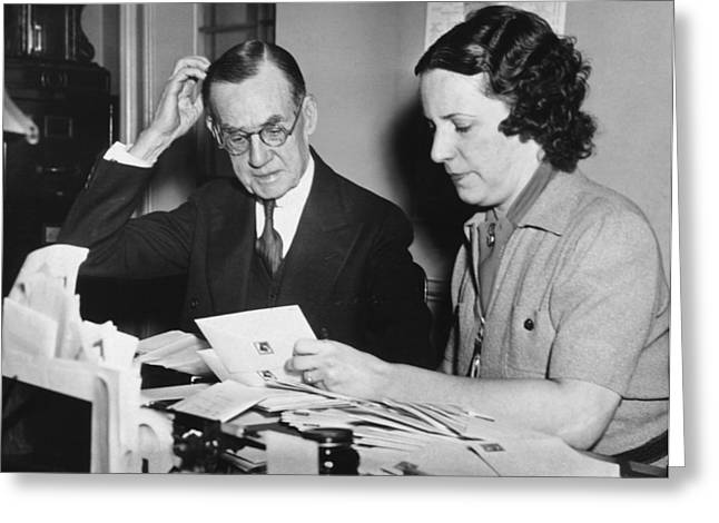 Man Assisted By His Secretary Greeting Card by Underwood Archives