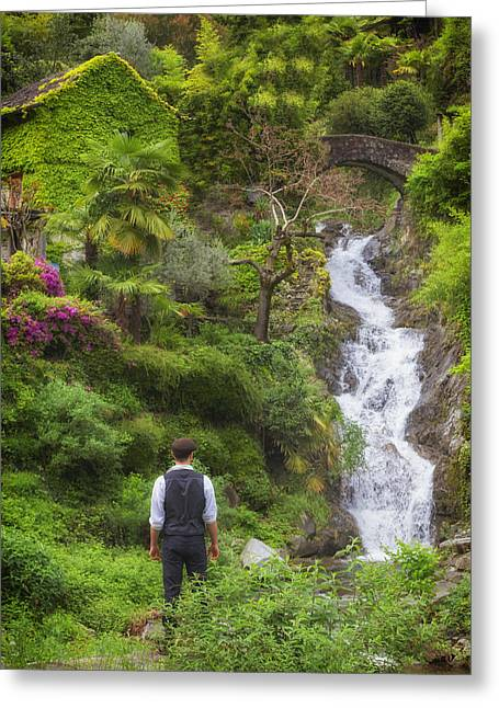 Man At A Waterfall Greeting Card