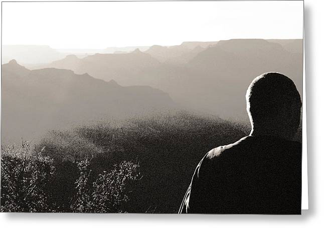 Greeting Card featuring the photograph Man At Grand Canyon by Arkady Kunysz