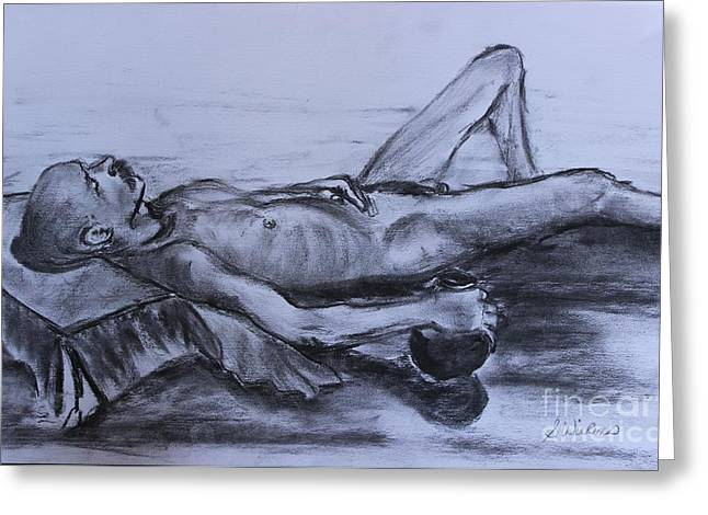 Man At Rest Greeting Card by Sharon Wilkens