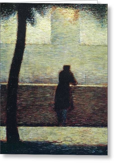 Man At The Rail Greeting Card by Georges Seurat