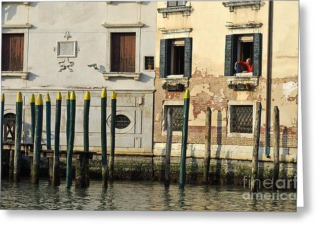 Man At Window By Piers In Venice Greeting Card by Sami Sarkis