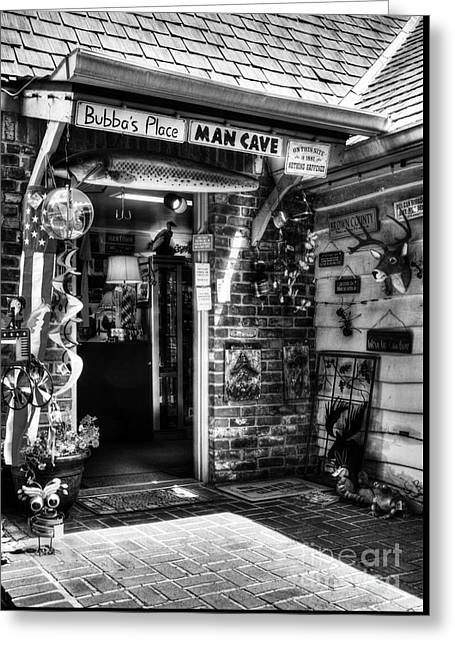 Man Cave Bw Greeting Card by Mel Steinhauer