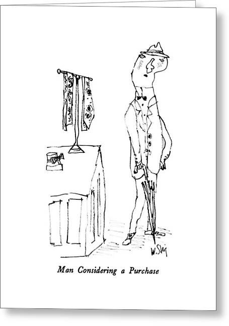 Man Considering A Purchase Greeting Card