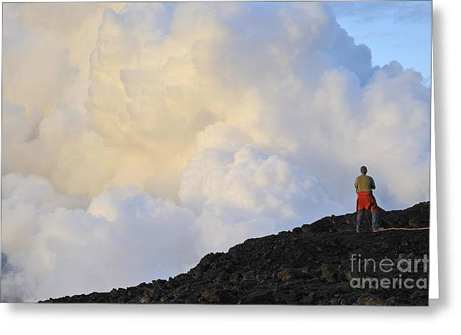 Man Contemplating Clouds Of Steam On Volcano Greeting Card by Sami Sarkis