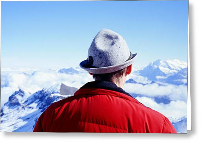 Man Contemplating Swiss Alps Greeting Card by Panoramic Images