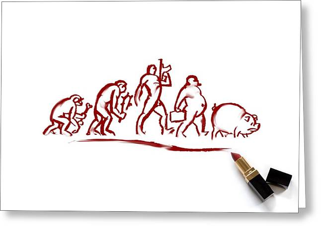 Man Evolving Into A Pig, Conceptual Greeting Card by Science Photo Library