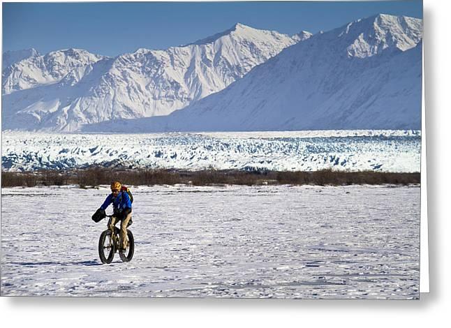 Man Fat Tire Mountain Biking On The Greeting Card by Joe Stock