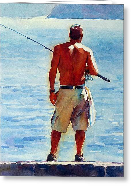 Man Fishing Greeting Card by Graham Berry