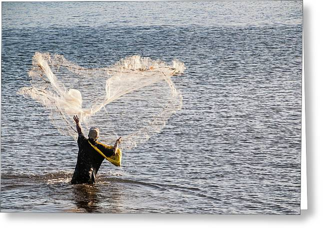 Man Fishing In The Harbor Of Apia Greeting Card by Michael Runkel