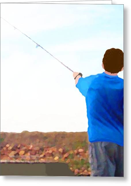 Man Fishing Greeting Card by Marian Cates