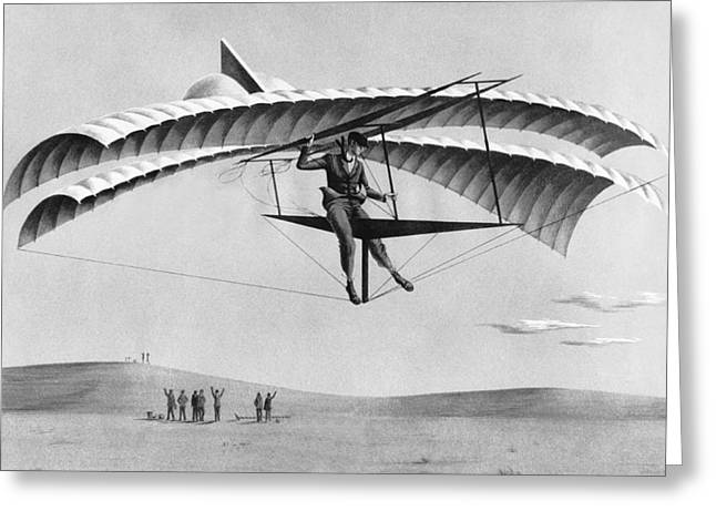Man Gliding In 1883 Greeting Card