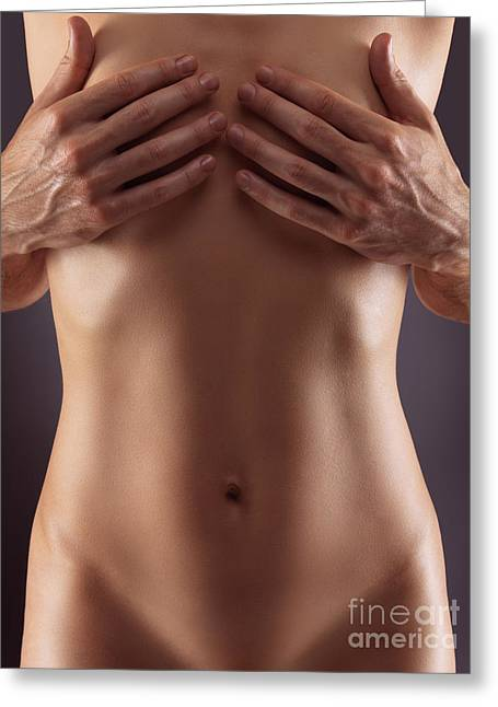 Man Hands Covering Nude Woman Breasts Greeting Card by Oleksiy Maksymenko