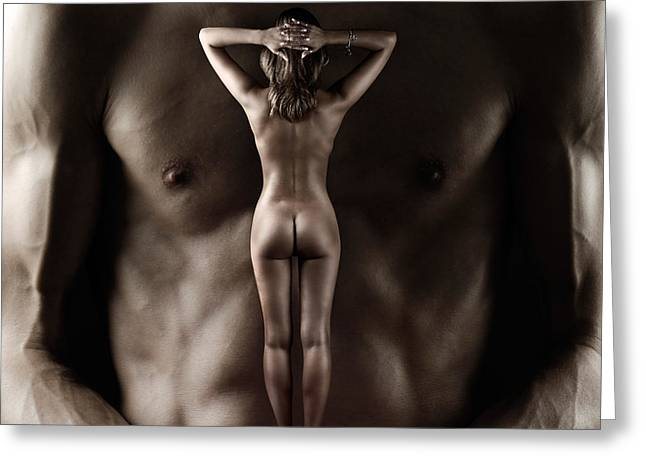 Man Holding A Naked Fitness Woman In His Hands Greeting Card by Oleksiy Maksymenko
