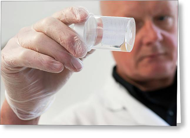 Man Holding Urine Sample Greeting Card
