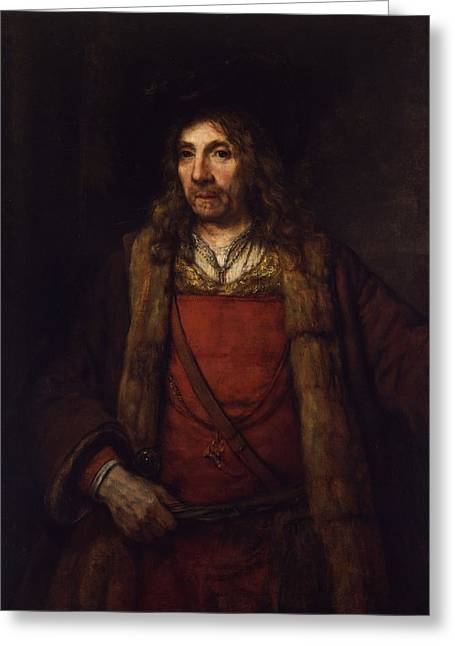 Man In A Fur-lined Coat Greeting Card