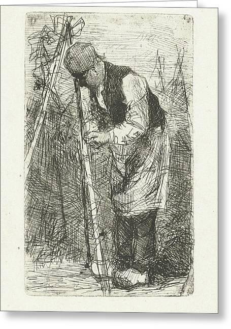 Man In A Vegetable Garden, Bernardus Johannes Blommers Greeting Card by Bernardus Johannes Blommers