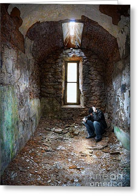 Man In Abandoned Building Greeting Card by Jill Battaglia