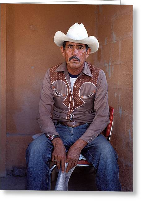Man In Cowboy Hat Greeting Card by Mark Goebel