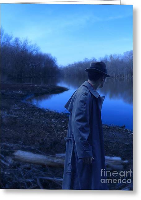 Man In Fedora By River Greeting Card by Jill Battaglia
