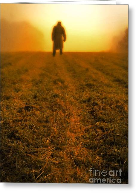 Man In Field At Sunset Greeting Card