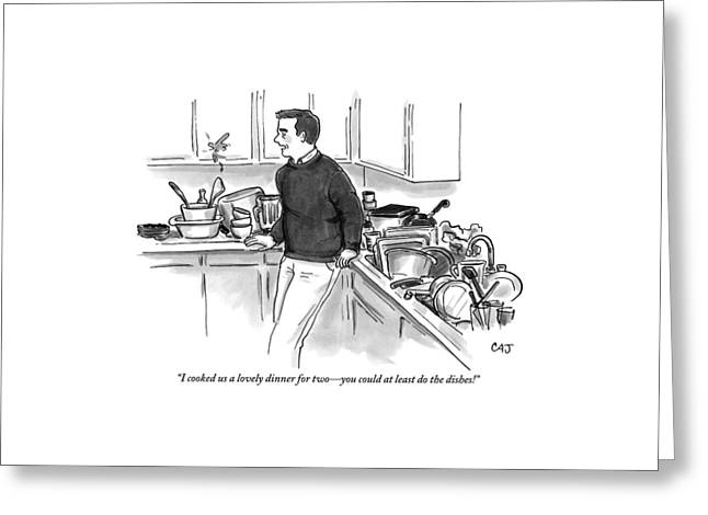 Man In Kitchen Surrounded By Dishes Greeting Card by Carolita Johnson
