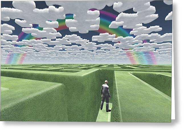 Man In Maze With Puzzle Clouds Greeting Card